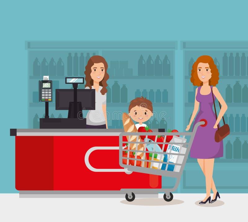 超级市场付款点的人 皇族释放例证