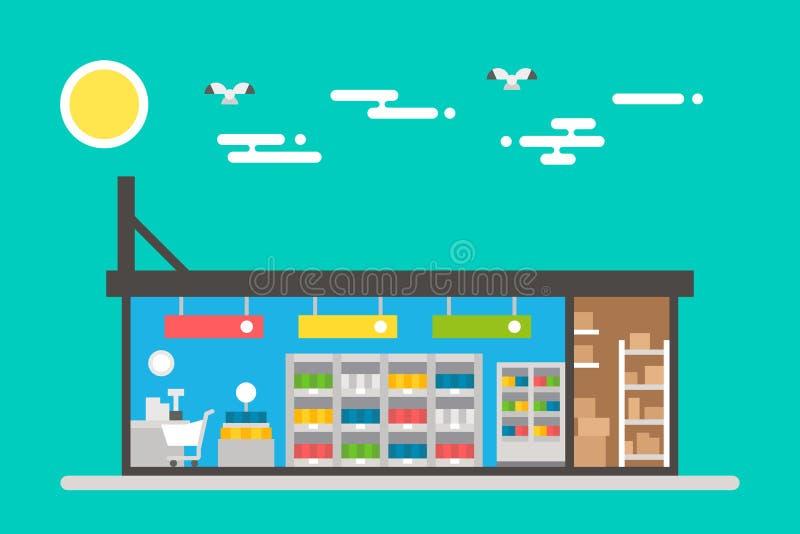超级市场内部平的设计  向量例证
