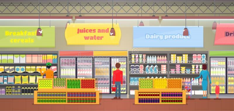 超级市场内部,人传染媒介例证 向量例证