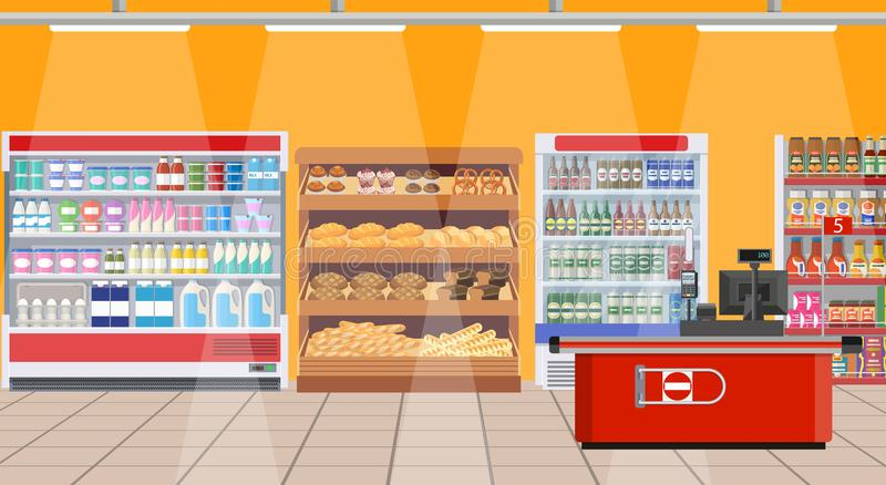 超级市场内部 与产品的架子 库存例证