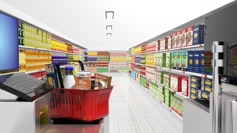 超级市场内部 向量例证