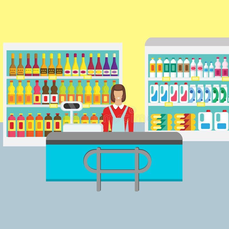 超级市场出纳员 存放逆书桌设备 皇族释放例证