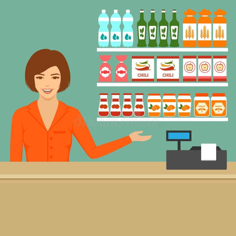 超级市场出纳员 库存例证