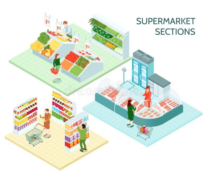 超级市场区分等量构成 皇族释放例证