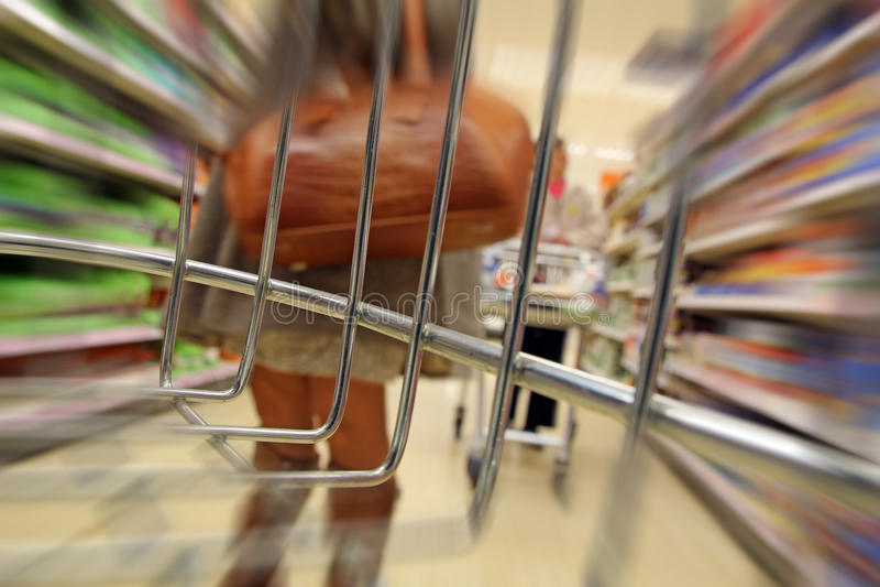 超级市场台车愤怒 免版税库存照片