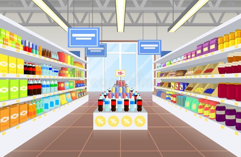 超级市场和产品海报传染媒介Illustraiton 皇族释放例证