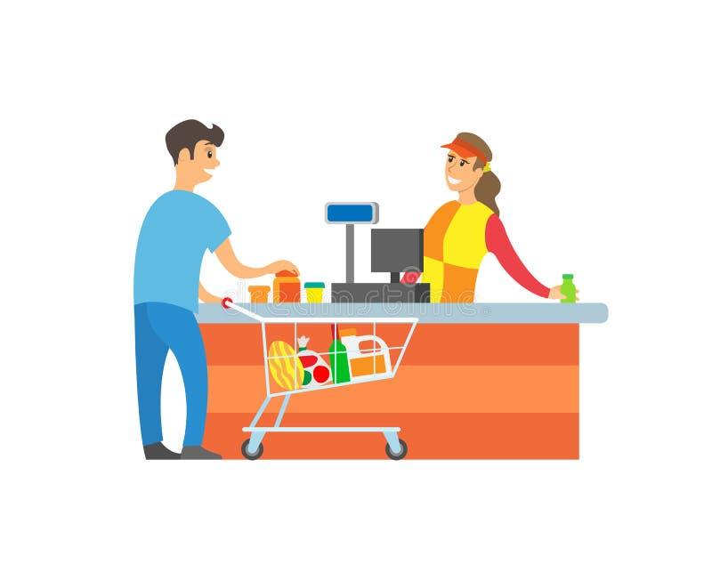 超级市场商店出纳员客户顾客传染媒介 皇族释放例证