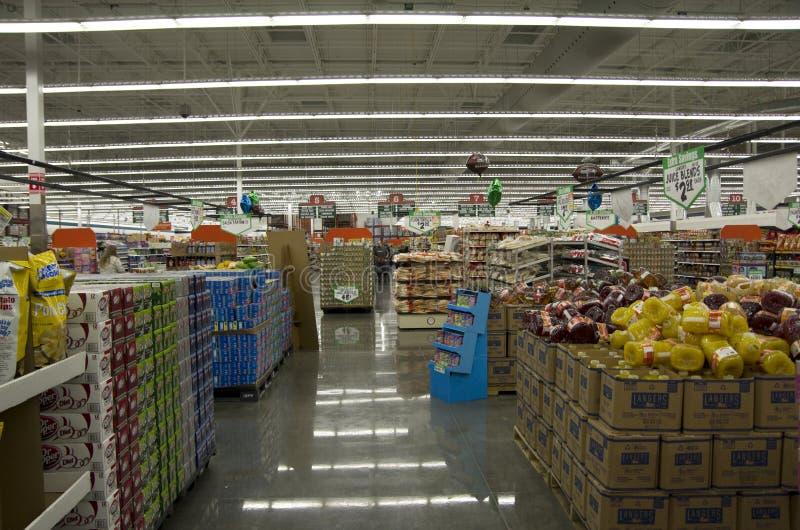 超级市场商店商店照明设备 库存图片