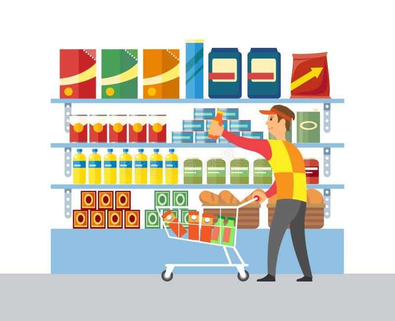 超级市场商店工作者商品推销传染媒介 向量例证