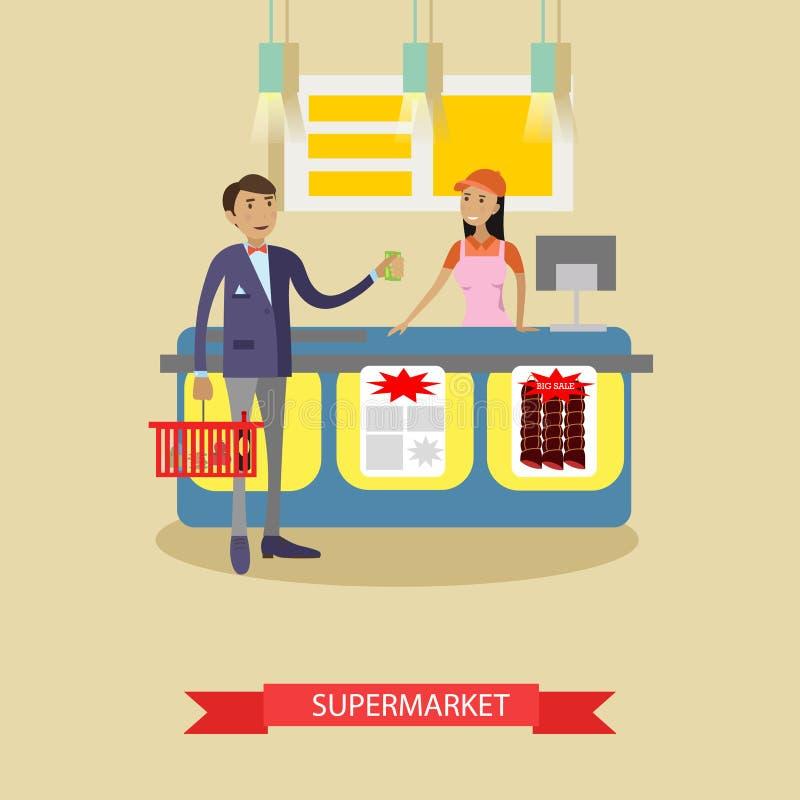超级市场在平的样式的传染媒介海报 顾客在食品店的购买产品 人购物 向量例证
