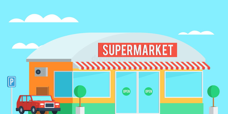 超级市场外部与汽车 向量例证