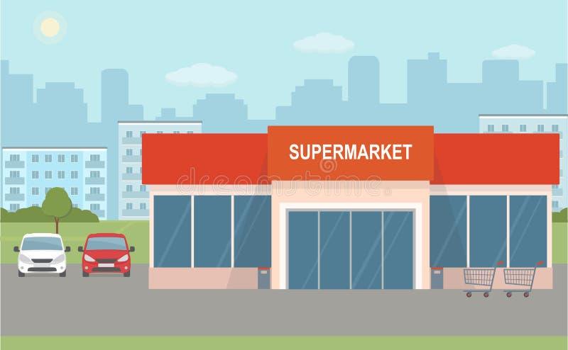 超级市场大厦和两辆汽车在城市背景 向量例证