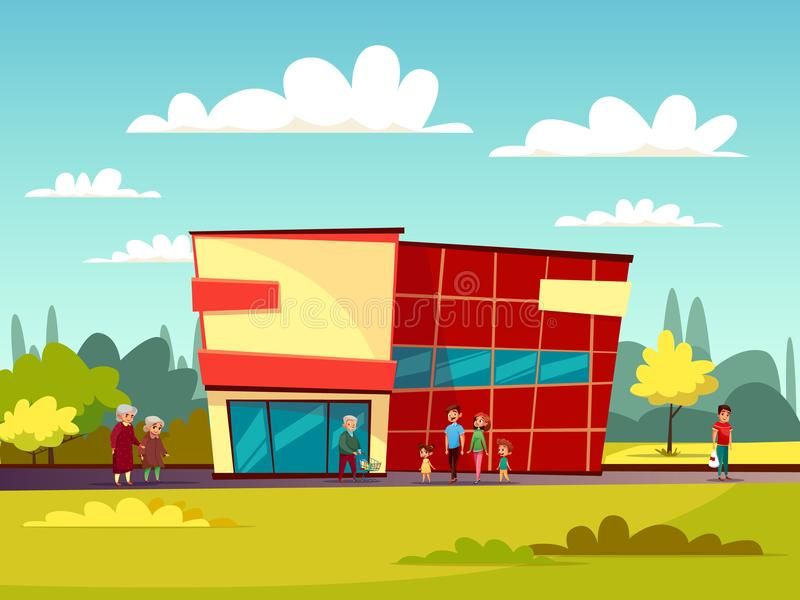超级市场大厦门面动画片贸易中心或商店购物中心的传染媒介有购物车的例证和人们 库存例证