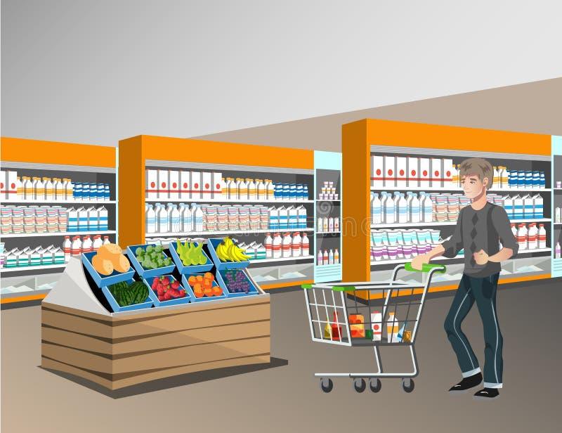 超级市场室内设计的人们 向量例证