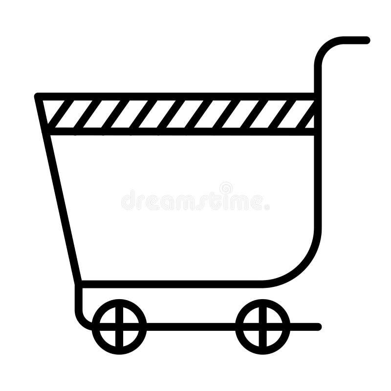 超级市场手推车象在白色背景和标志隔绝的传染媒介标志,超级市场手推车商标概念 皇族释放例证