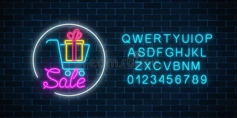 超级市场有礼物盒和字母表的购物车的发光的霓虹灯广告 光亮广告销售横幅 皇族释放例证