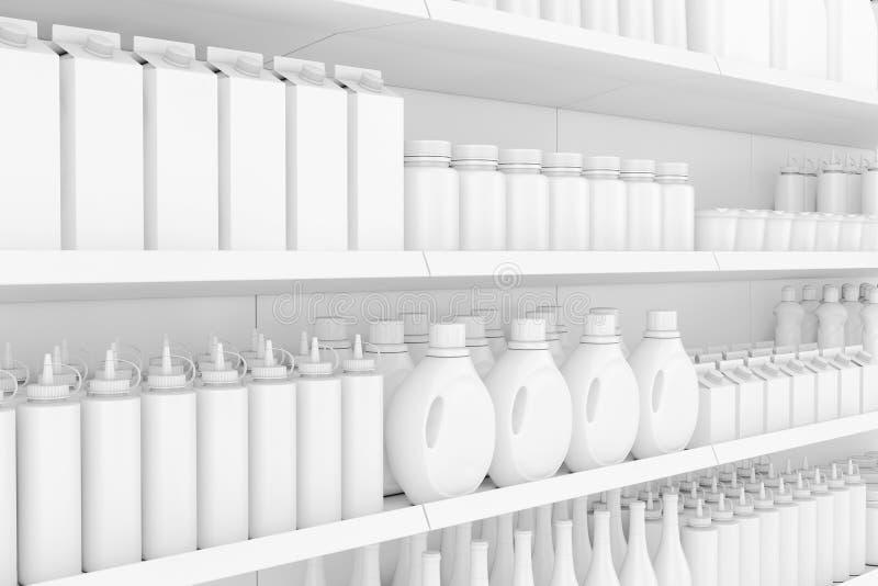 超级市场有空白的产品或物品的棚架机架在黏土S 皇族释放例证