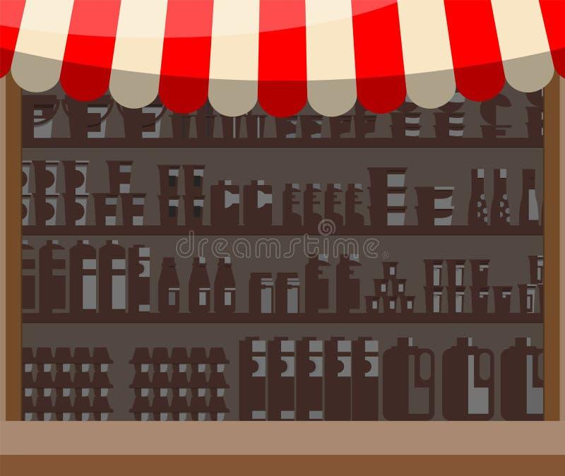 超级市场木陈列室 库存例证