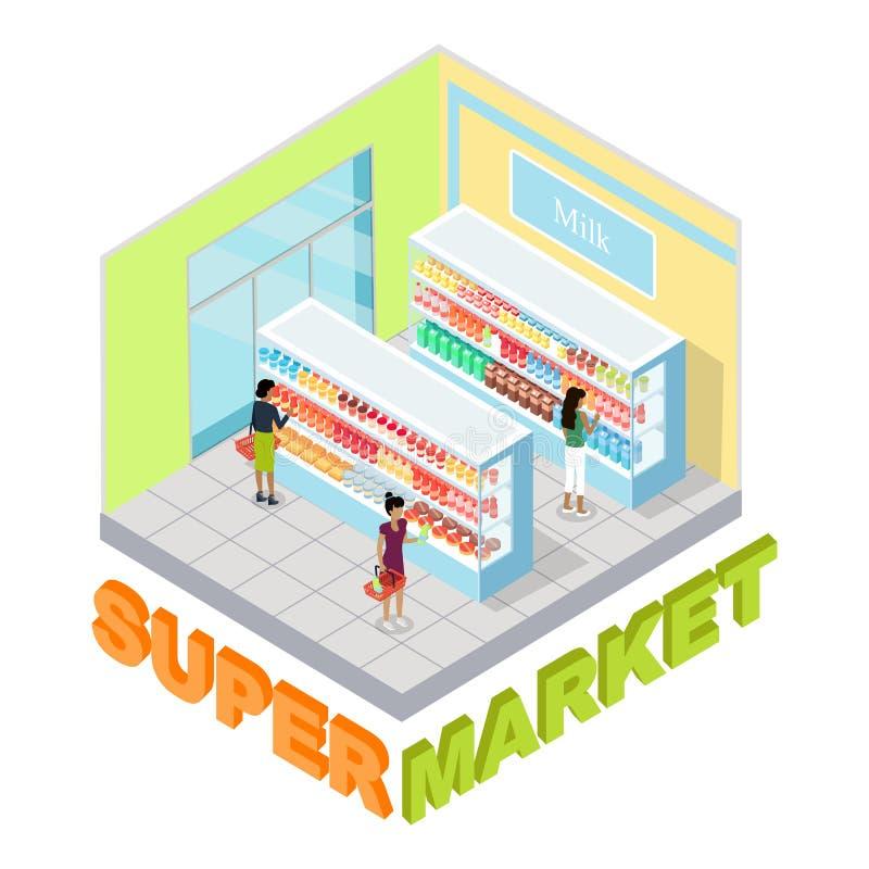 超级市场牛奶部门等量传染媒介 库存例证