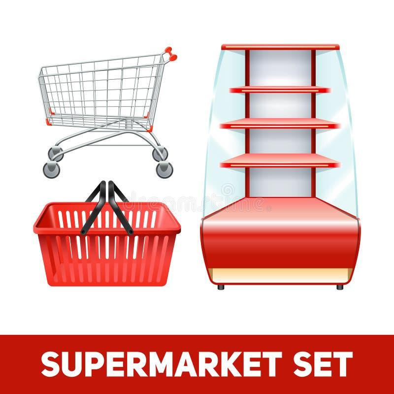 超级市场现实集合 库存例证