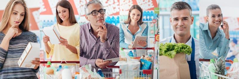 超级市场的人们 免版税库存图片