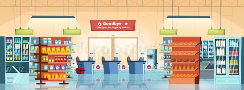 超级市场背景 在购物中心房间传染媒介动画片里面的杂货店产品美食术食物零售冰箱 库存例证