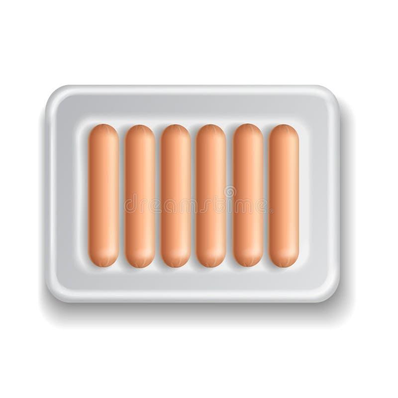 超级市场被隔绝的被包装的香肠 向量例证