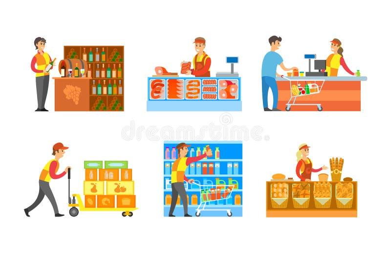 超级市场部门酿酒厂和面包店传染媒介 皇族释放例证