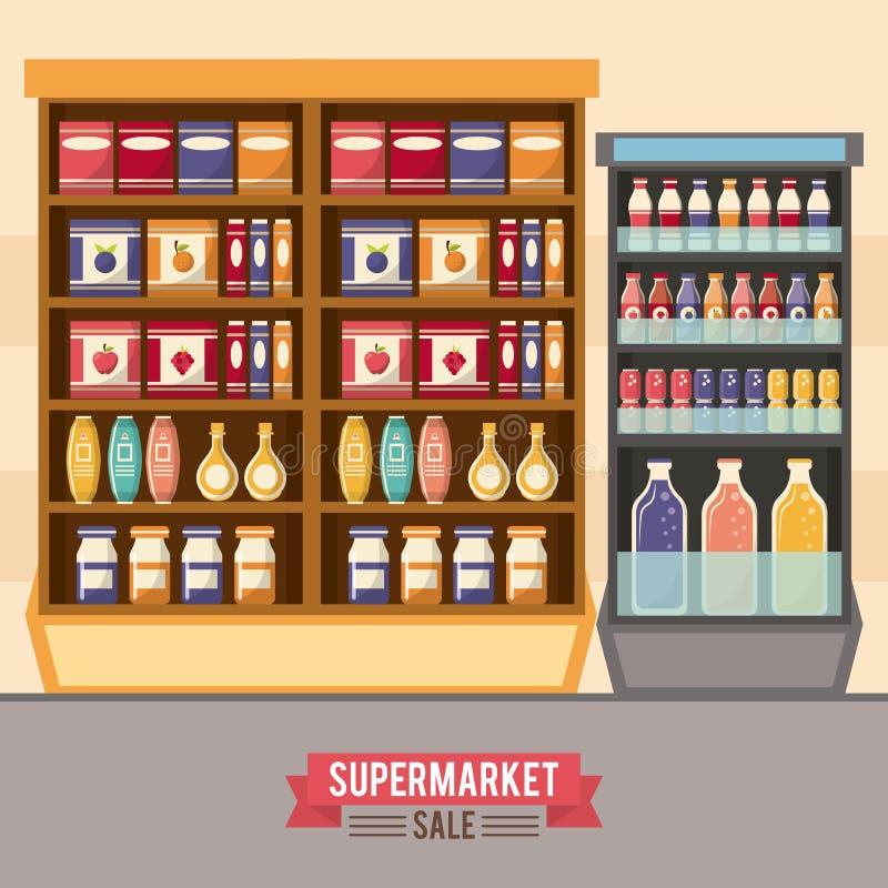 超级市场销售立场 皇族释放例证
