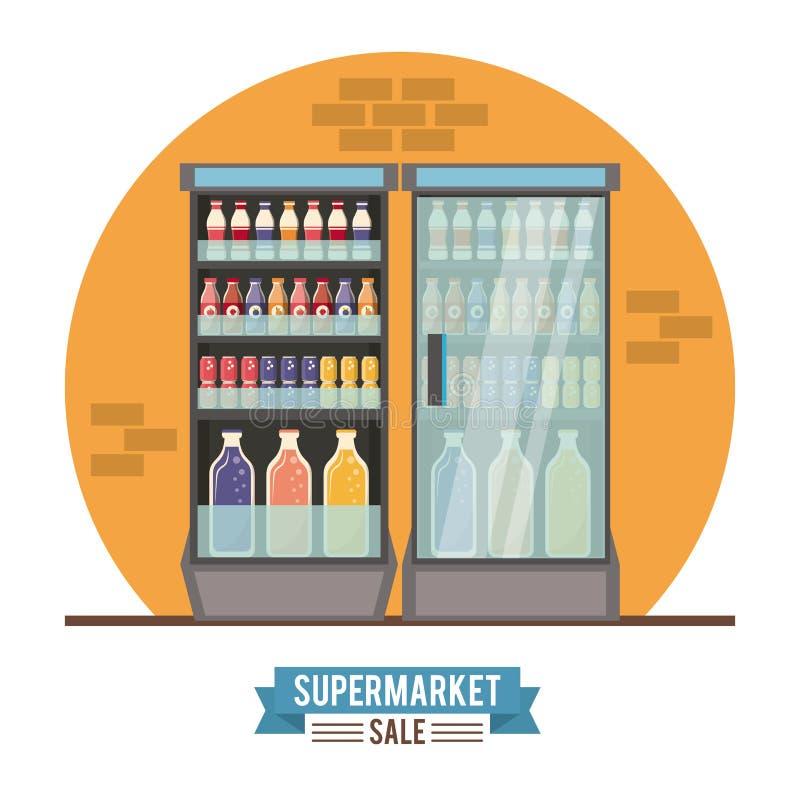 超级市场销售立场 向量例证
