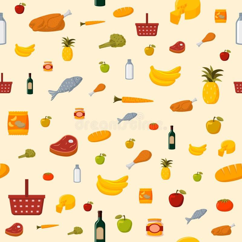 超级市场食品项目无缝的背景 库存例证