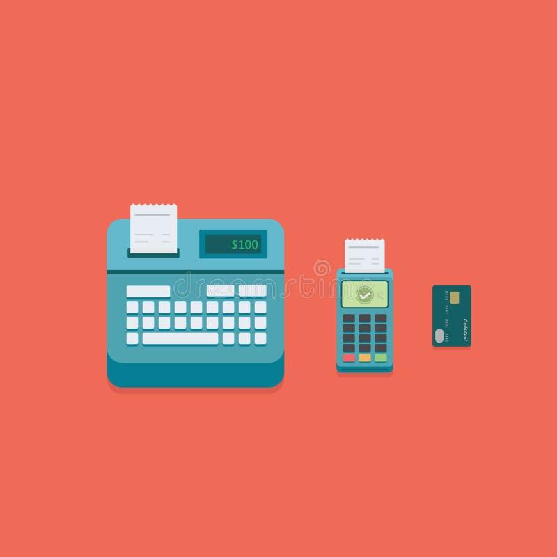 超级市场pos付款终端例证 平的收款机、pos付款终端和信用卡 向量例证