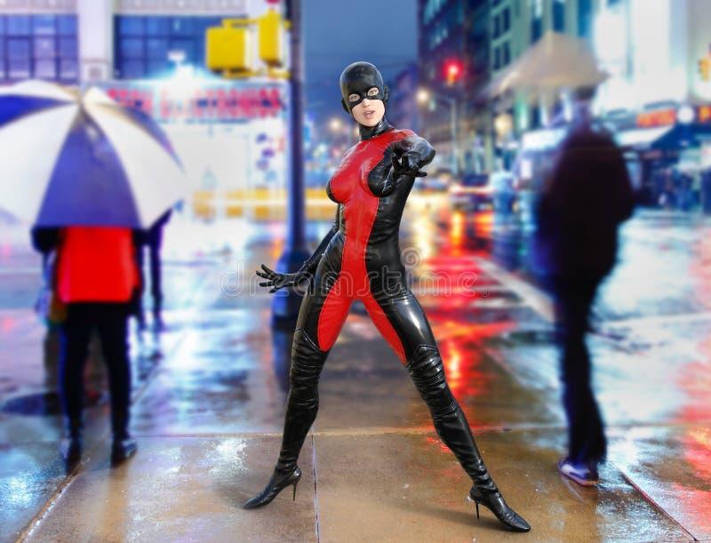 超级式样超级英雄曼哈顿街道 库存例证