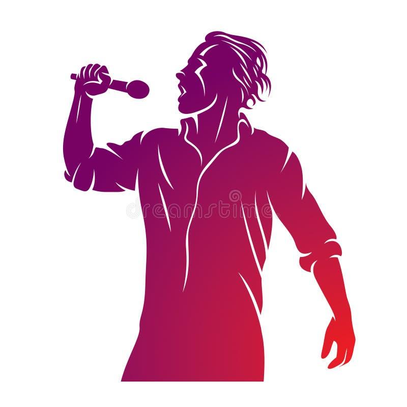 超级明星表现传染媒介例证,有话筒的人在手中是唱歌活或卡拉OK演唱 皇族释放例证