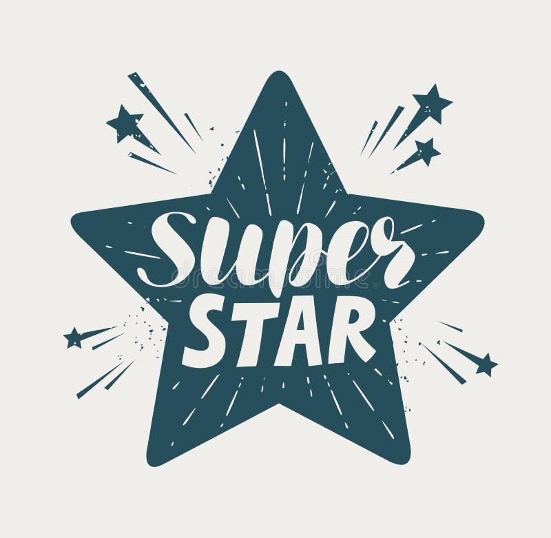 超级星,印刷设计 字法传染媒介例证 库存例证