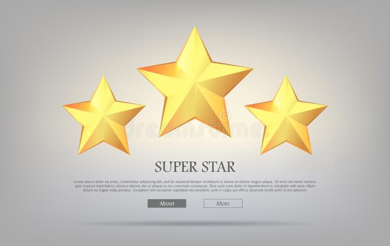 超级星 金黄星形三 银色背景 向量例证