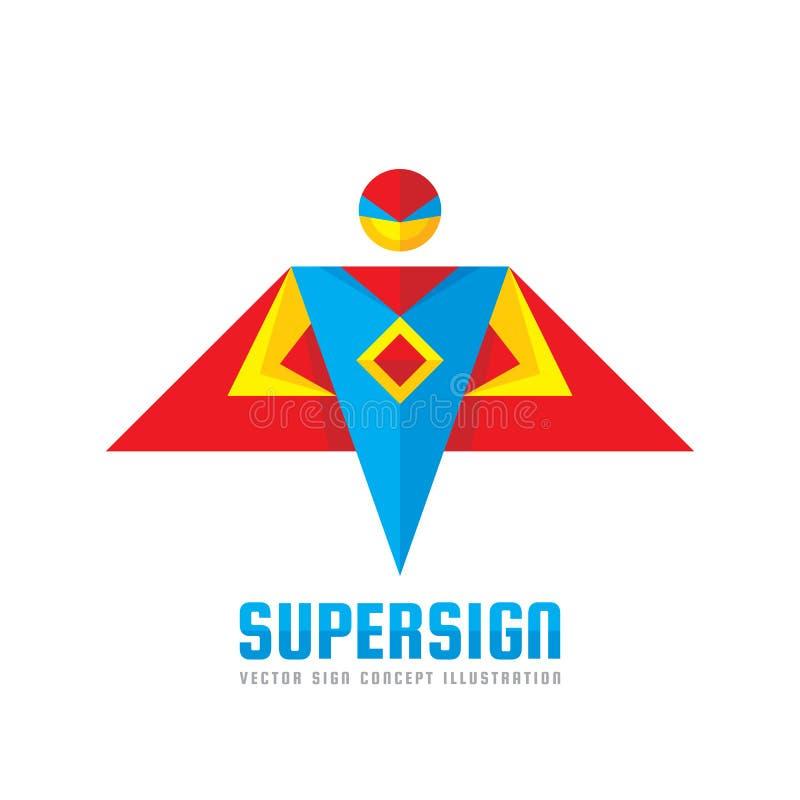 超级标志-导航商标在平的样式的模板概念 人人字符 英雄标志 超级象 背景下来落的飞行人天空年轻人 库存例证