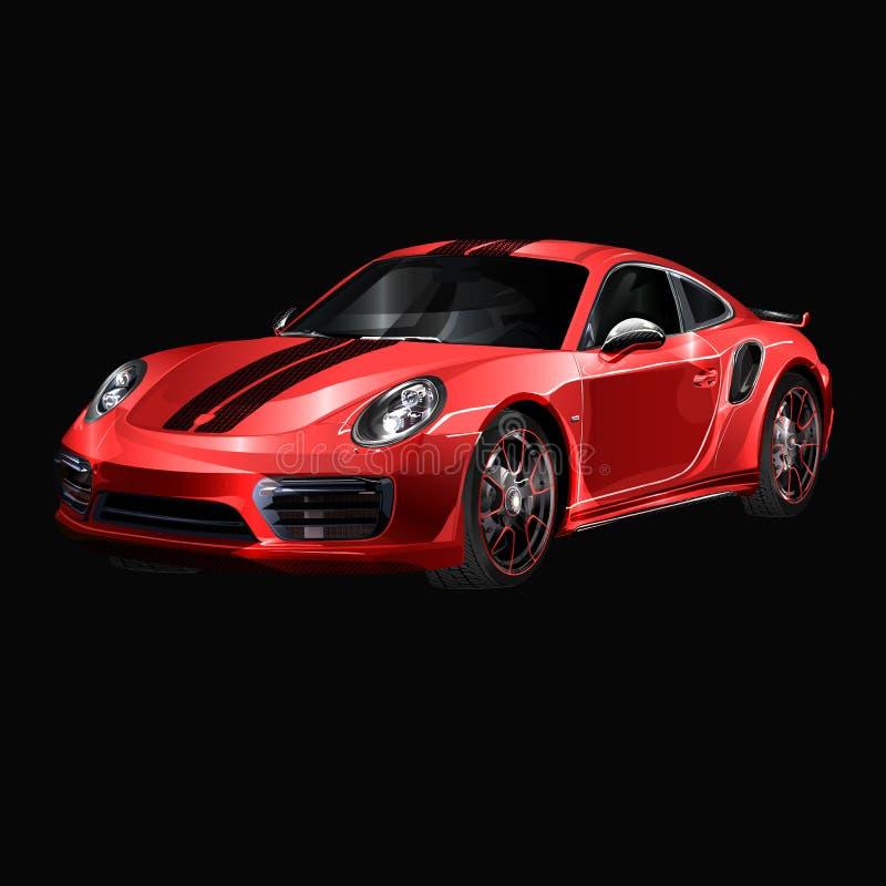 超级汽车设计观念 独特的现代现实艺术 普通豪华汽车 蓝色汽车介绍侧视图 传染媒介3D 库存例证