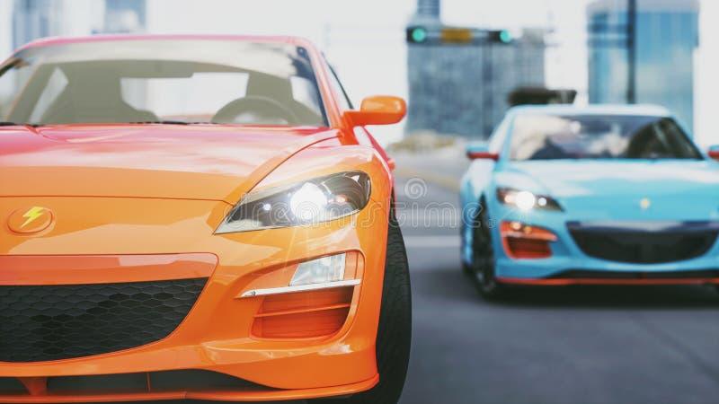 超级汽车,在路跑在城市的主教 向量例证