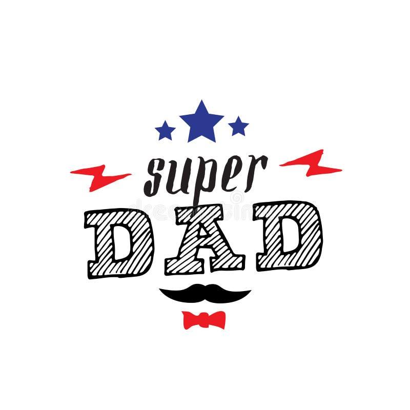 超级爸爸-与闪电和satrs的T恤杉印刷品 愉快的fathe 皇族释放例证