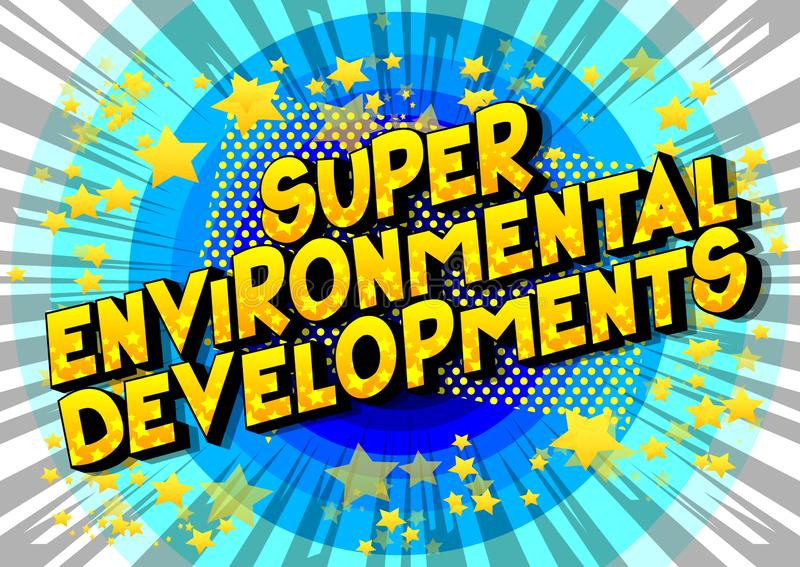 超级环境发展-漫画样式词 库存例证