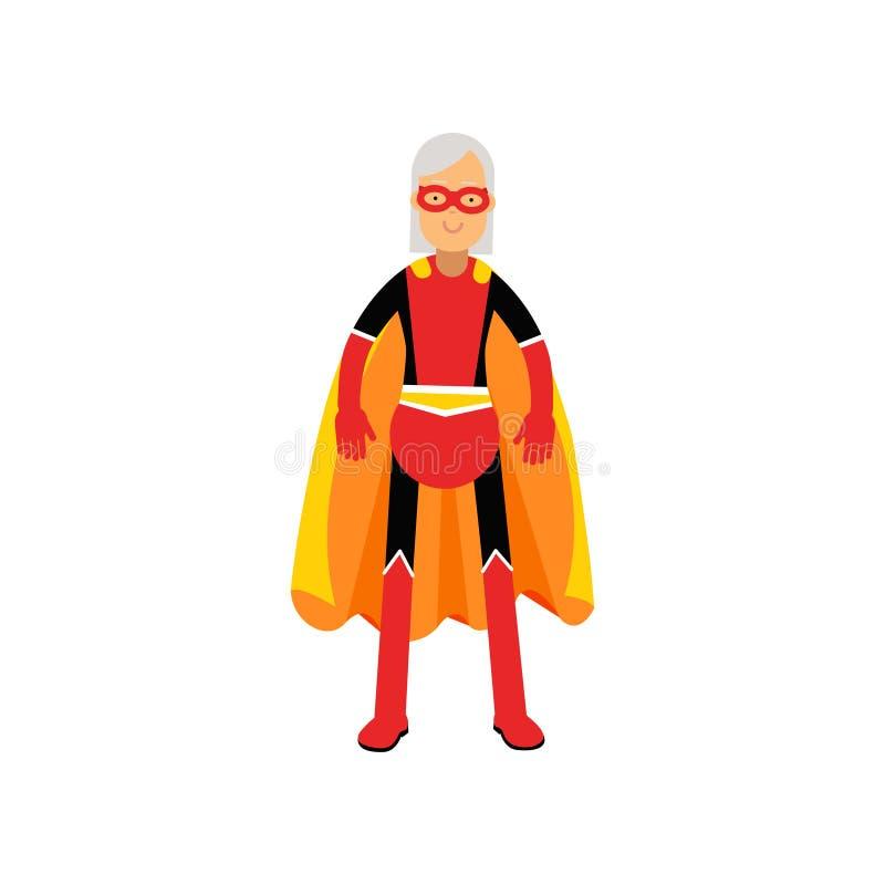 超级祖母,佩带橙色海角传染媒介例证的资深妇女超级英雄 向量例证