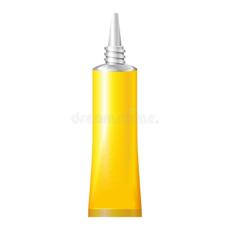 超级胶浆黄色管  在被隔绝的白色背景的产品 为您的设计准备 产品装箱 eps10开花橙色模式缝制的rac ric缝的镶边修整向量墙纸黄色 皇族释放例证