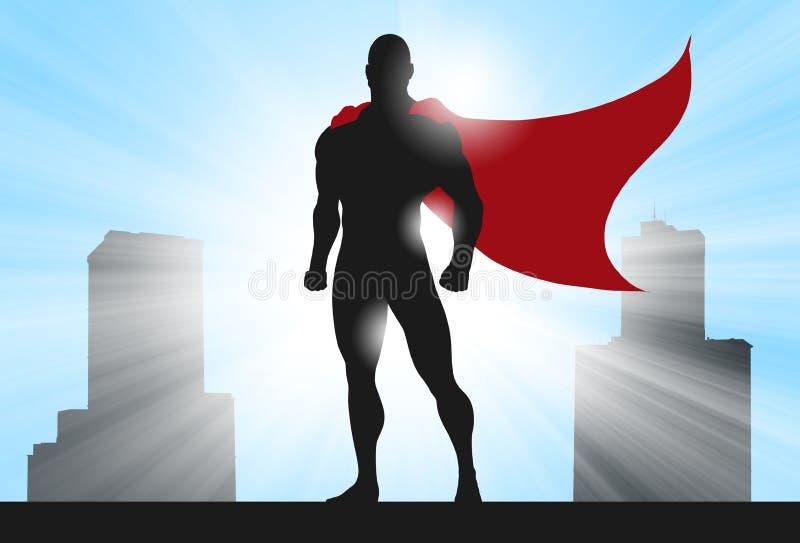 超级英雄剪影城市 皇族释放例证