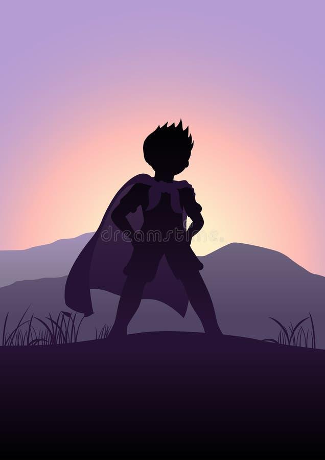 超级英雄剪影 向量例证
