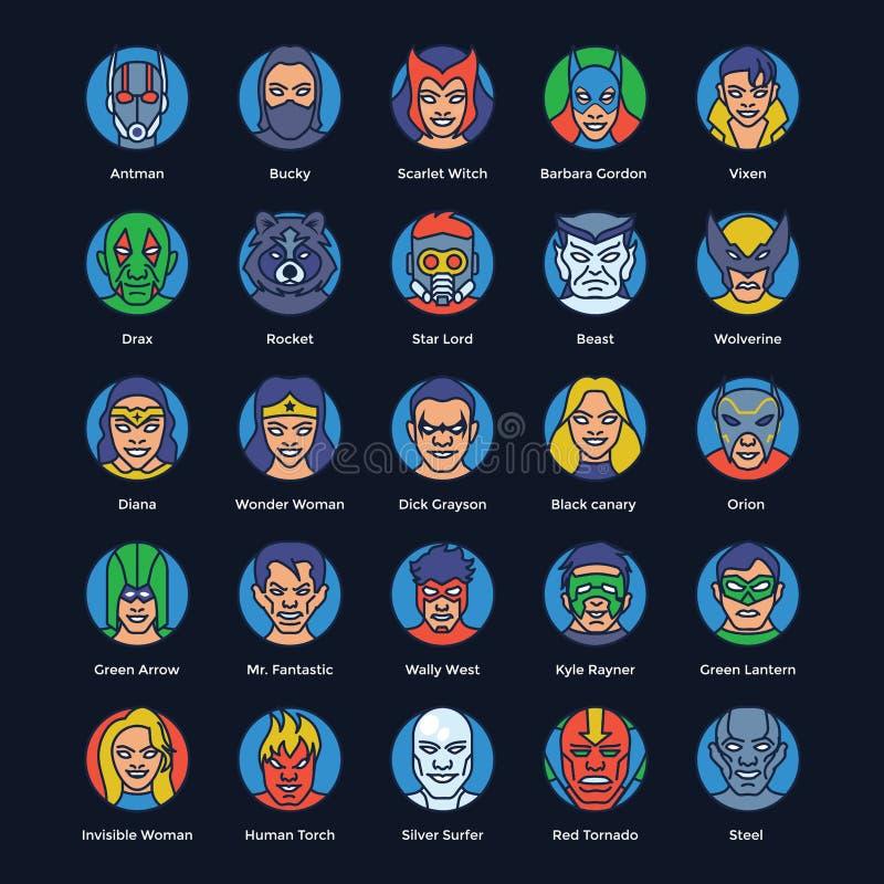 超级英雄和恶棍平的传染媒介集合 向量例证