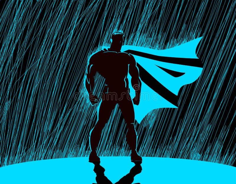 超级英雄在雨中 向量例证
