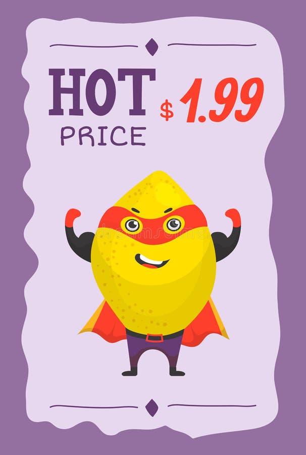 超级英雄在面具和cloack传染媒介动画片价格例证的果子柠檬 在特级英雄服装的逗人喜爱的果子字符 库存例证