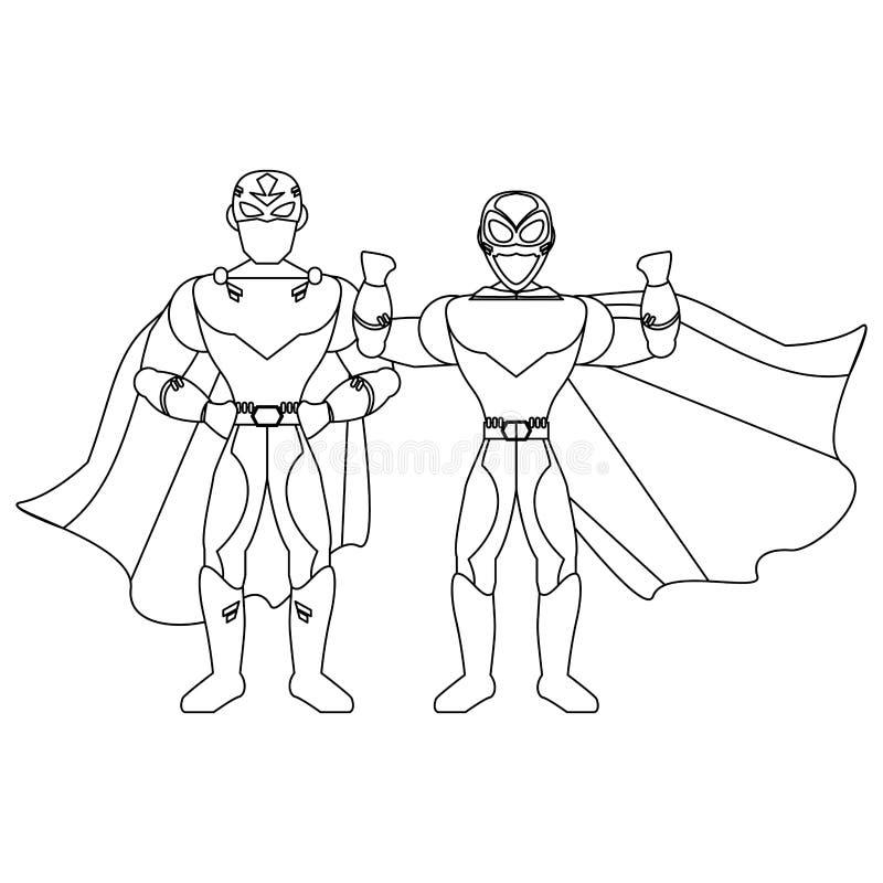 超级英雄在黑白的夫妇字符 向量例证