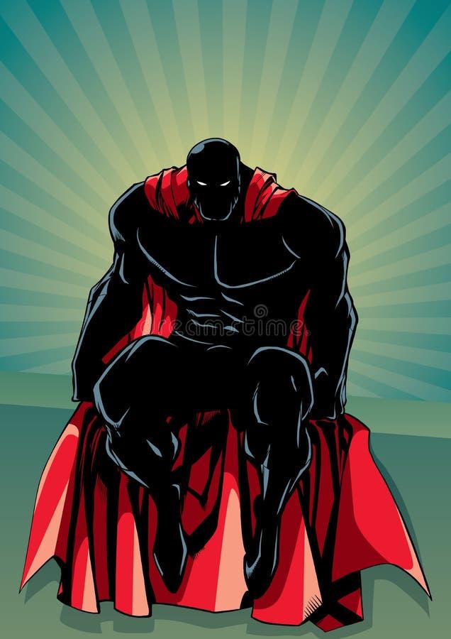 超级英雄坐的光芒光剪影 向量例证